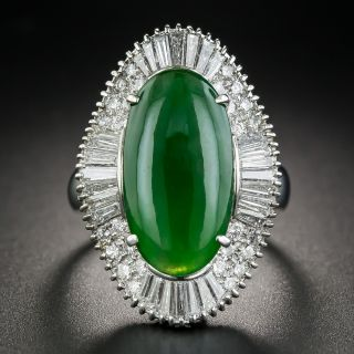 Natural Jade and Diamond Platinum Cocktail Ring