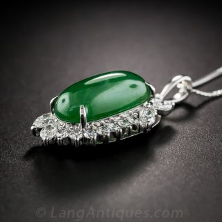 Natural Jade and Diamond Platinum Pendant