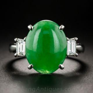 Natural Burma Jade and Diamond Ring