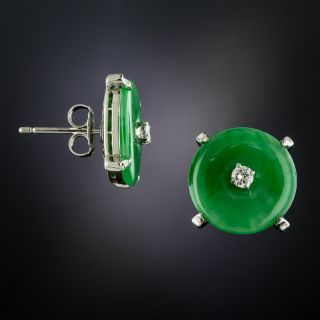 Natural Jade Diamond 'Bi' Earrings