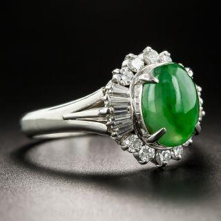 Natural Jade, Platinum and Diamond Ring