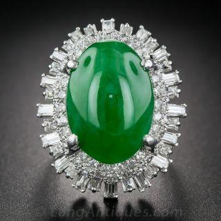 Natural Jade Platinum and Diamond Ring