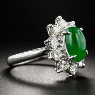 Natural Jade Platinum Diamond Ring