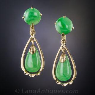 Natural Jade Vintage Drop Earrings