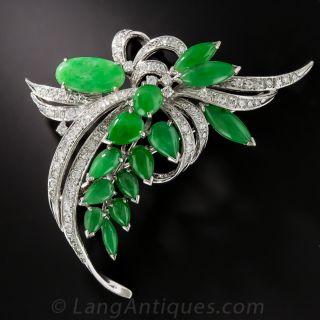Natural Jadeite and Diamond Brooch