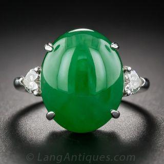 Natural Jadeite and Diamond Ring