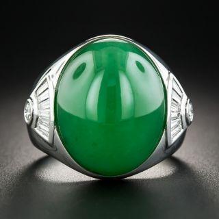 Natural Jadeite and Diamond Unisex Ring - 1