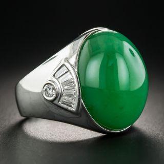 Natural Jadeite and Diamond Unisex Ring