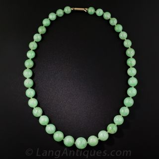 Natural Jadeite Burma 6.9-11mm Graduating Green Jade Bead Necklace