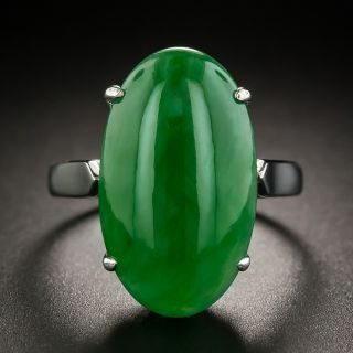 Natural Jadeite Cabochon Solitaire Ring - 1