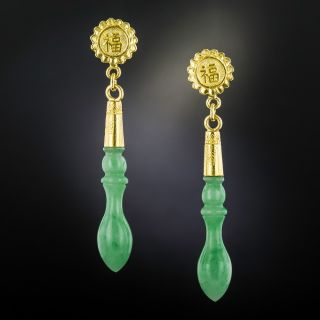 """Natural Jadeite Drops Earrings with """"Fu"""" Design - 1"""