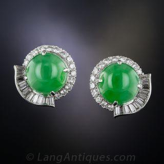 Natural Jadeite, Platinum and Diamond Earrings