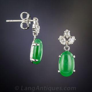 Natural Jadeite Platinum and Diamond Earrings