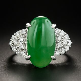 Natural Jadeite Platinum Diamond Ring - 1