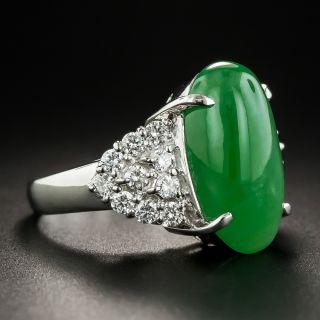 Natural Jadeite and Diamond Platinum Ring