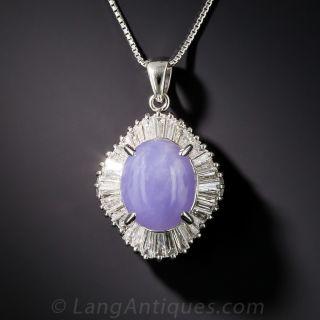 Natural Lavender Jade and Diamond Platinum Pendant Necklace