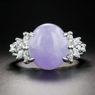 Natural Lavender Jade Platinum and Diamond Ring