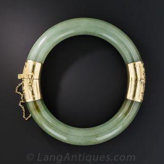 Natural Mossy Green Jade Hinged Bangle