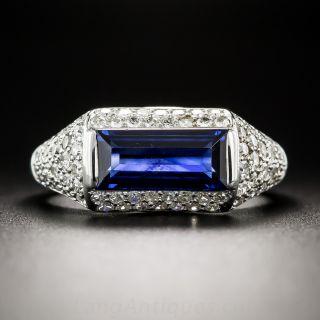Natural No-Heat Emerald-Cut Sapphire and Diamond Ring - 1