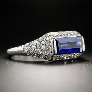 Natural No-Heat Emerald-Cut Sapphire and Diamond Ring