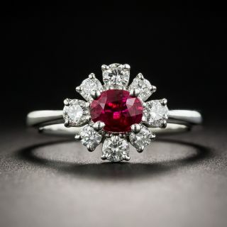 Natural No-Heat Ruby Diamond Halo Ring