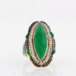 Navette Jadeite Art Deco Ring  Main View