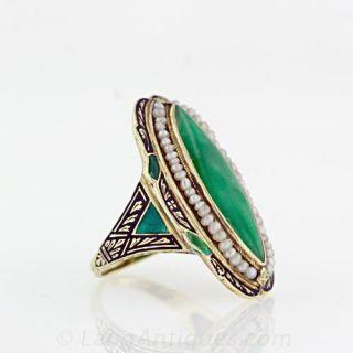 Navette Jadeite Art Deco Ring