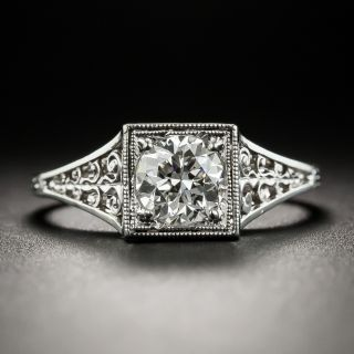Neoclassical .74 Carat Diamond Platinum Solitaire by Jones and Woodland - 1