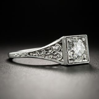 Neoclassical .74 Carat Diamond Platinum Solitaire by Jones and Woodland