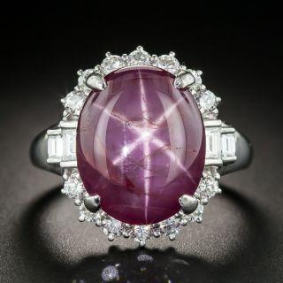 No Heat 16.36 Carat Star Ruby Platinum Diamond Ring - 1