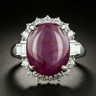 No Heat 16.36 Carat Star Ruby Platinum Diamond Ring