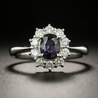 No-Heat 'Alexandrite-Like' Sapphire and Diamond Ring - 2