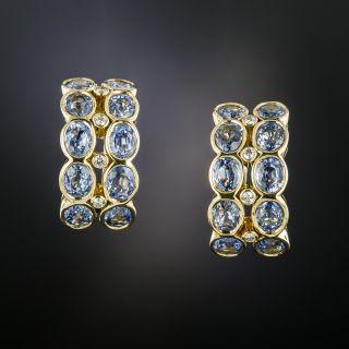 No Heat Ceylon Sapphire and Diamond Hoop Earrings - 1
