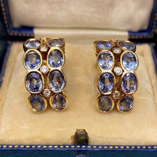 No Heat Ceylon Sapphire and Diamond Hoop Earrings