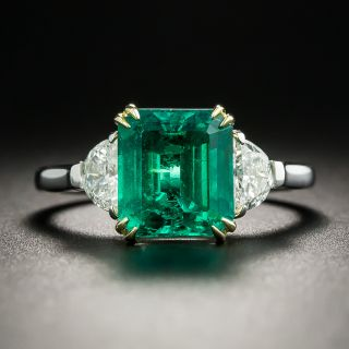 Estate 2.73 Carat Colombian Emerald and Diamond Ring - AGL - 3