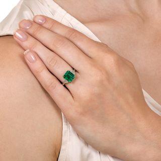 No Treatment  2.73 Carat Colombian Emerald Diamond Ring - AGL/GIA