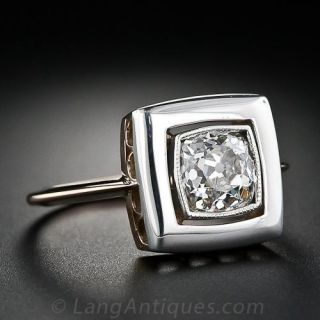 One Carat  Square Cushion Diamond Antique  Ring from Russia