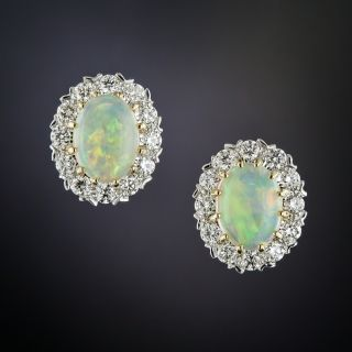 Opal and Diamond Earrings - 1