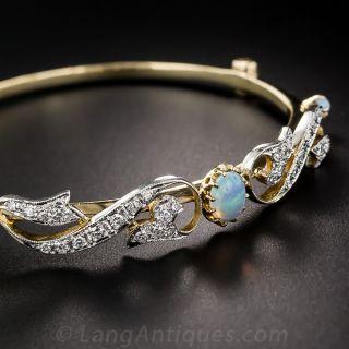 Opal and Diamond Vintage Bangle Bracelet