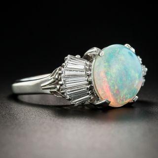 Opal Baguette Diamond Platinum Ring