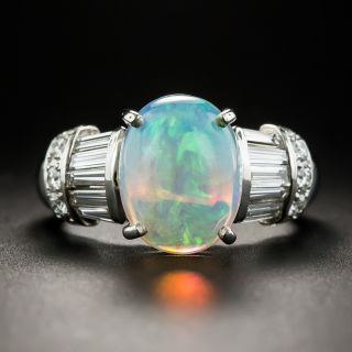 Estate Opal Diamond Platinum Ring - 1