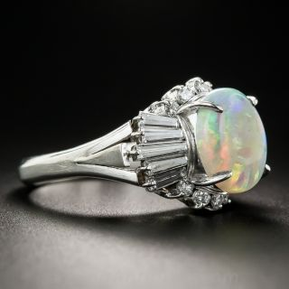 Opal Platinum and Diamond Cocktail Ring
