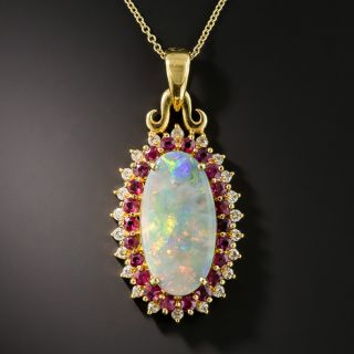 Opal Ruby Diamond Pendant  - 1