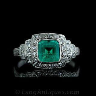 Original-Art-Deco-Emerald-and-Diamond-Ring-Main-View