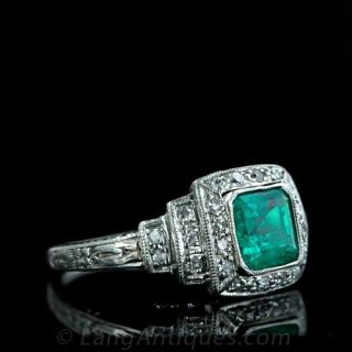 Original Art Deco Emerald and Diamond Ring