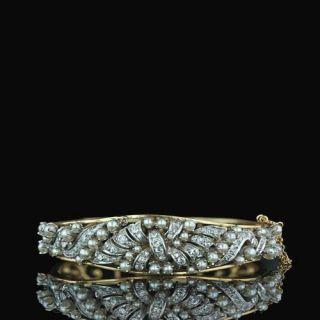 Ornate-Diamond-and-Pearl-Bangle-Bracelet-Main-View