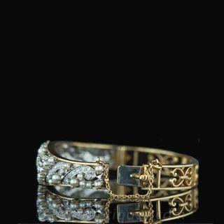 Ornate Diamond and Pearl Bangle Bracelet