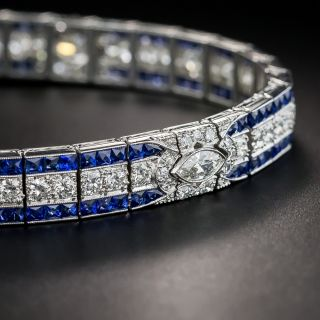 Oscar Heyman Art Deco Sapphire and Diamond Bracelet  - 3