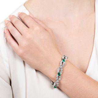 Oscar Heyman & Bros. Emerald Platinum Diamond Bracelet