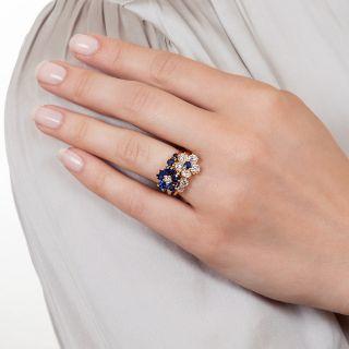 Oscar Heyman Bros. Sapphire and Diamond Double Flower Ring